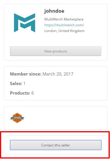 """Contacting the vendor through """"Contact the seller"""" button"""