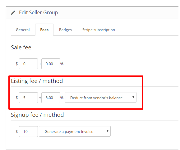 listing fee method
