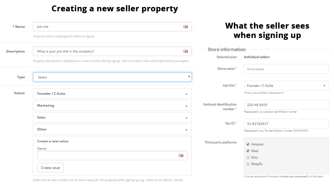 multimerch seller properties signup fields registration