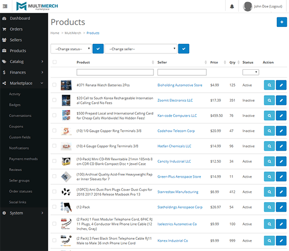 multimerch admin product management inventory
